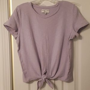 Madewell Texture Lavender Tie front tee